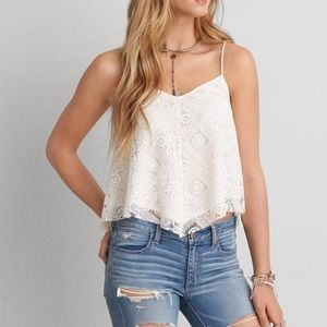 American Eagle Lace Handkerchief Tank Top White M